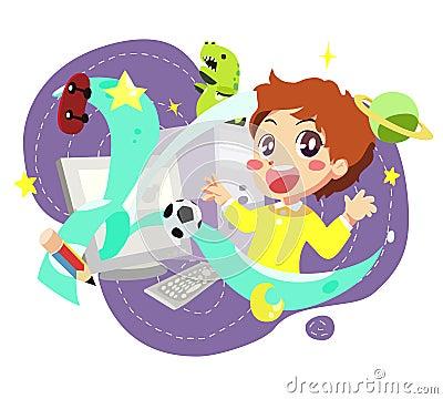 Computer kids - vector