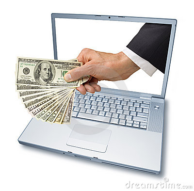 Computer Laptop Money Hand