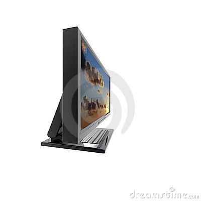 Computer lcd flat monitor isolated on white