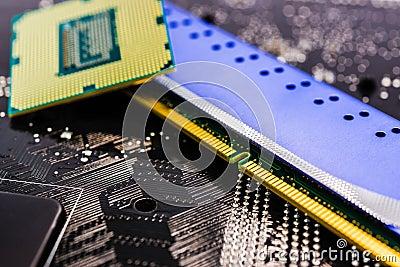 Computer main parts close-up