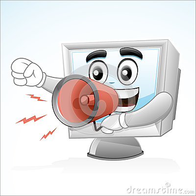 Computer Mascot : Shouting with a megaphone