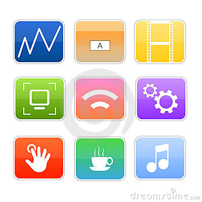Free Computer Media Glossy Icons Royalty Free Stock Photos - 14655568