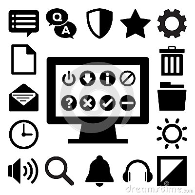 Computer menu icons set