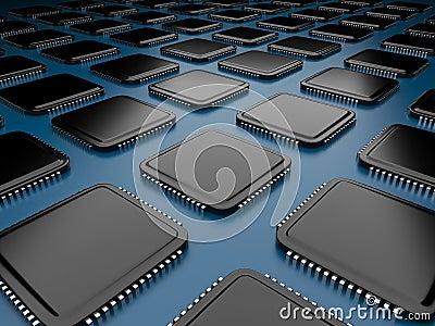 Computer microchip CPU 3D.