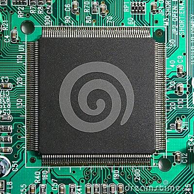 Computer microprocessor chip closeup