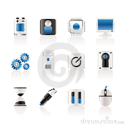 Computer and mobile phone elements icons