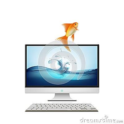 Computer monitor and goldfish