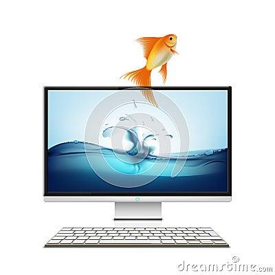 Computer monitor and goldfish.