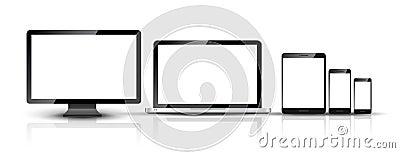 Computer monitor, smartphone, laptop and tablet pc design. Mobile phone smart digital device set Vector Illustration