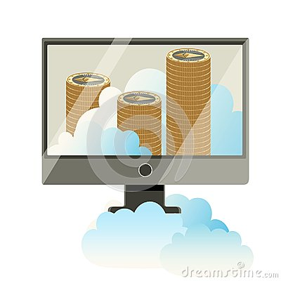 Computer monitor with stack of cryptocoins poster Vector Illustration