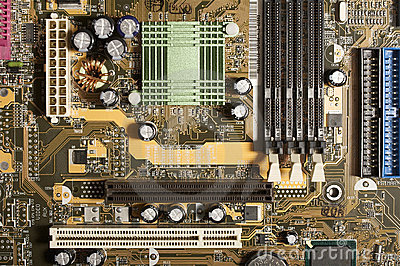 Computer motherboard with chips, memory, pci