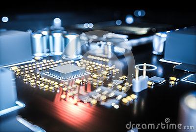 Computer motherboard cpu socket close up . 3d rendering Cartoon Illustration