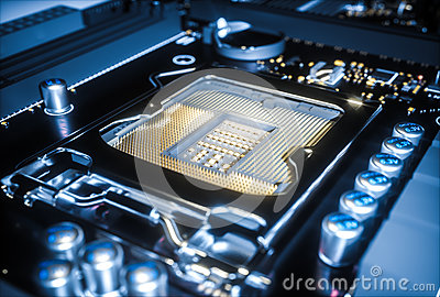 Computer motherboard cpu socket close up . 3d rendering Cartoon Illustration