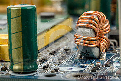 Computer motherboard, detail of capacitor