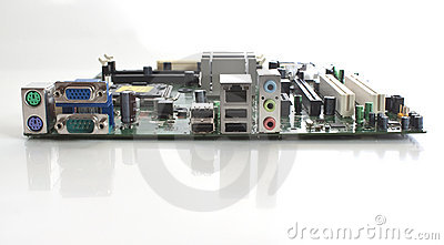 A computer motherboard end view