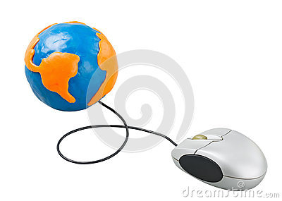 Computer mouse connected to the globe
