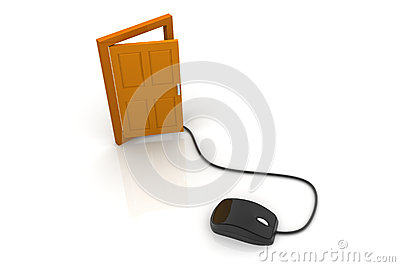 Computer mouse and the door