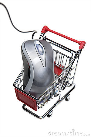 Computer mouse in a miniature-shopping cart.