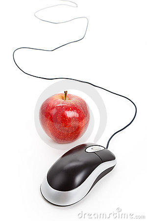 Computer Mouse and red apple