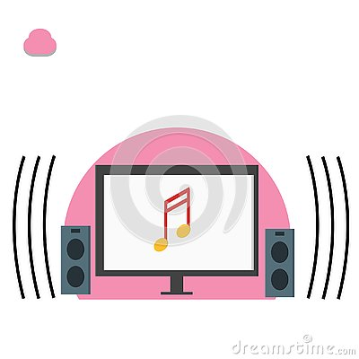 Computer and music note, playing music illustration - vector Cartoon Illustration