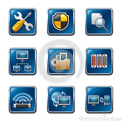 Free Computer Network Icon Set Royalty Free Stock Image - 30300766