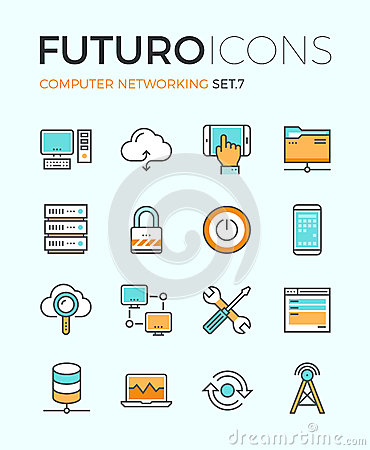 Free Computer Networking Futuro Line Icons Stock Images - 53565894