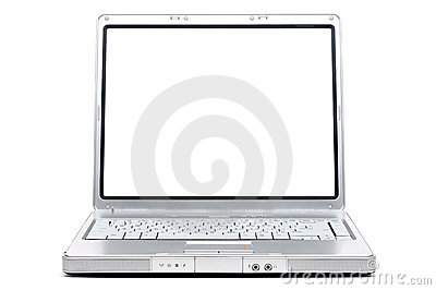 Computer notebook with a blank screen