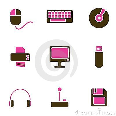 Computer objects icon set