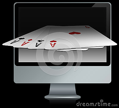 Computer with online card games