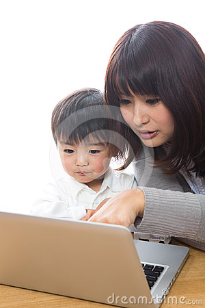 Computer and parent and child