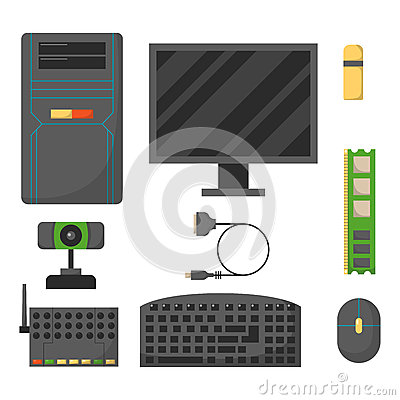 Free Computer Parts Network Component Accessories Various Electronics Devices And Desktop Pc Processor Drive Hardware Memory Stock Image - 86702081