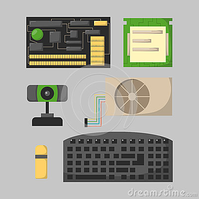 Free Computer Parts Network Component Accessories Various Electronics Devices And Desktop Pc Processor Drive Hardware Memory Royalty Free Stock Photography - 86847027