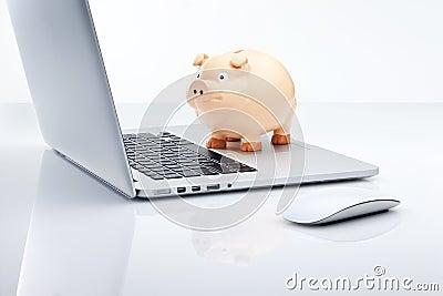Computer Piggy Bank Technology Finance