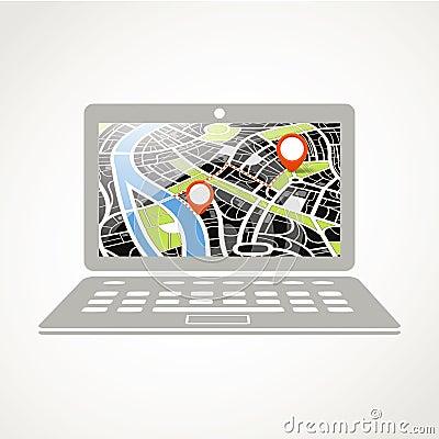 Computer portatile moderno con la mappa della città