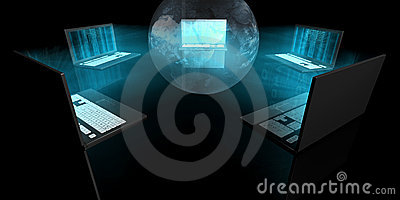 Computer portatili blu di incandescenza