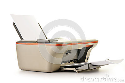 Computer printer  on white