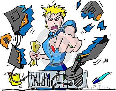 Computer Rage Illustration of office worker punching VDU : Dreamstime