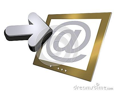 Computer screen and arrow