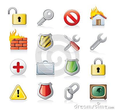 computer security icon set