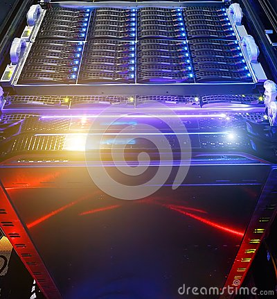 Free Computer Server Mount On Rack In Data Center Room With Red Lighting Alarm. Bottom View On The Cluster Storage Of Stock Photography - 122420452