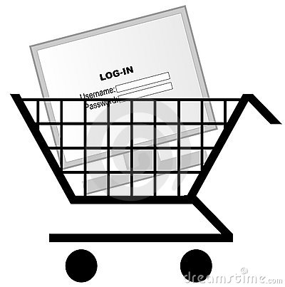 Computer in shopping cart