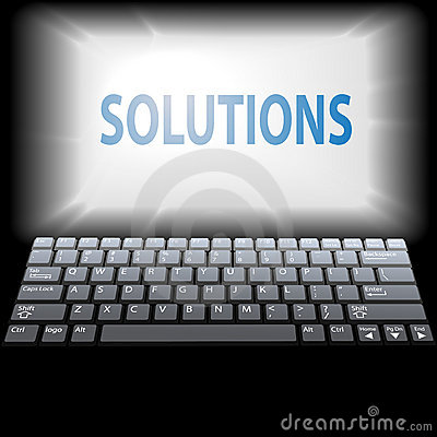 Computer SOLUTIONS in laptop monitor copyspace