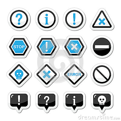 Computer system  icons - warning, danger, error