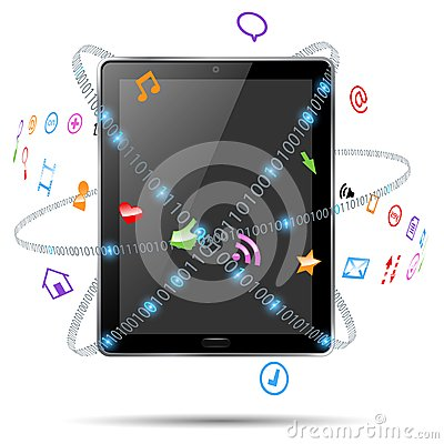 Computer tablet with icons
