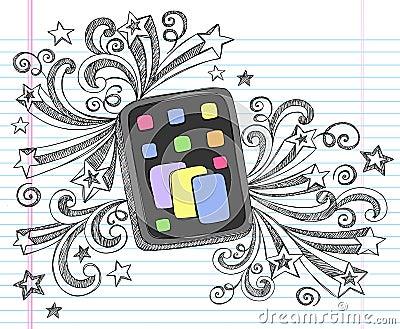 Computer Tablet Sketchy Doodle Vector
