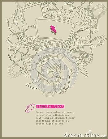 Computer theme -vector