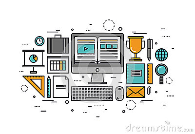 Computer training line style illustration stock vector for Architecture home learning courses