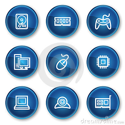 Computer web icons, blue circle buttons
