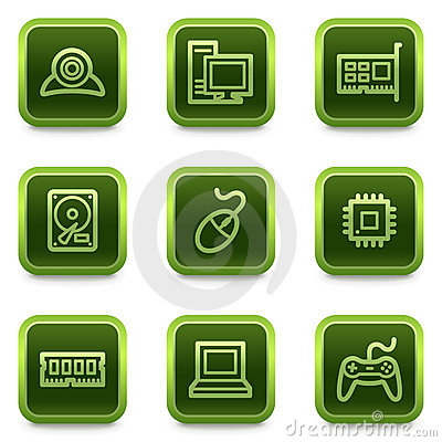 Computer web icons, green square buttons series