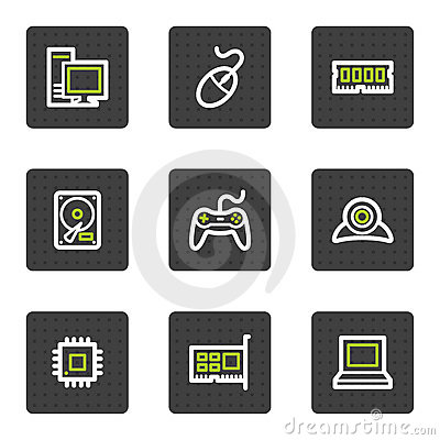 Computer web icons, grey square buttons series